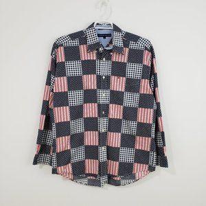 TOMMY HILFIGER Patchwork Print USA Flag Shirt L